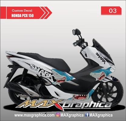 sticker decal pcx shark putih